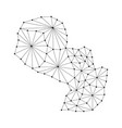 paraguay map of polygonal mosaic lines network vector image vector image