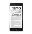 phone with news article on screen vector image vector image