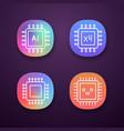 processors app icons set vector image