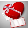 realistic blank bright red heart shape box with vector image