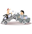 road accident young man and woman vector image vector image