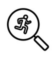 running man inside loupe linear icon vector image vector image