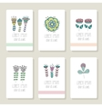 set cards invitation with hand drawn floral vector image