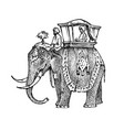 set india culture elephant and temple a woman vector image vector image