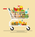 shopping cart with foodstuff flat design icon vector image