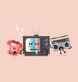 sleeping tv is waken by radio and telephone vector image vector image