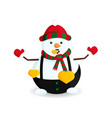 snowman with golden hearts vector image