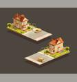 suburban family houses with minivan on street vector image vector image