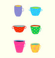 tea or coffee cups and mugs collection colorful vector image vector image