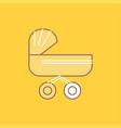 trolly baby kids push stroller flat line filled vector image