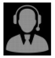 white halftone call center manager icon vector image vector image