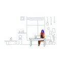 woman freelancer using laptop sitting workplace vector image vector image