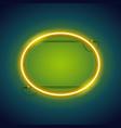yellow neon ellipse frame vector image vector image
