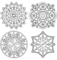 Circular ornament set Round pattern mandala vector image