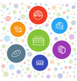 7 bakery icons vector image vector image