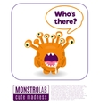 a monster saying whos there vector image