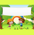banner template with kids watering plants vector image vector image