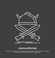 battle emblem viking warrior swords icon line vector image vector image