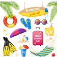 beach vacation realistic items set vector image vector image