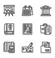 business icon set outline style vector image