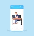 businessman freelancer sitting at workplace vector image vector image