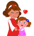 cartoon isolated pregnant mother with daughter vector image