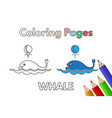 cartoon whale coloring book vector image vector image