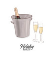 champagne bottle with ice bucket vector image