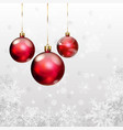 Christmas background with snowflakes and balls vector image