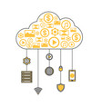 cloud computing linear style infographics vector image vector image