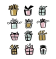 Collection of gift icons make with brush and ink vector image vector image