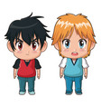 colorful full body couple cute anime tennager vector image vector image