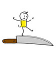 creative colorful walking on a knife blade vector image vector image