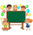 cute kids and school board back to school vector image vector image