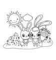 cute rabbits couple with flowers valentines day vector image