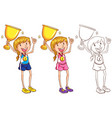 doodle character for runner with trophy vector image vector image