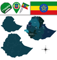 Ethiopia map with named divisions vector image vector image