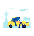 experienced taxi driver open car door inviting vector image