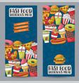 fast food vertical banner set concept restaurant vector image vector image
