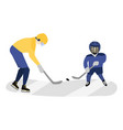 father and son playing hockey together vector image vector image