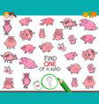 find one a kind with pigs animal characters vector image vector image