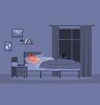 girl sleeping in bed healthy sleep at night vector image