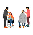 hairdresser with client in hairdress beauty salon vector image
