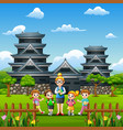 happy kids study tour in kumamoto castle vector image vector image