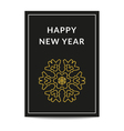 Happy New Year greeting card golden snowflake vector image vector image