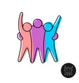 happy three friends line style logo vector image