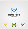 home food with spoon and fork logo concept icon vector image