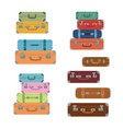 icons luggage flat style suitcases baggage vector image