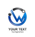 initial letter w logo template colored black blue vector image
