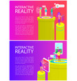 interactive reality poster set vector image vector image